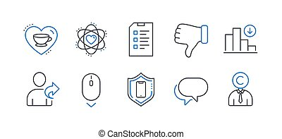 Set of Business icons, such as Refer friend, Decreasing graph, Checklist. Vector