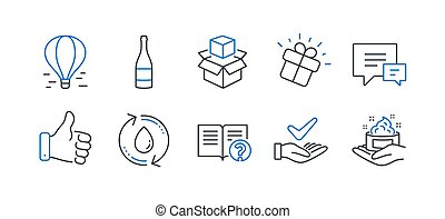 Set of Business icons, such as Refill water, Like hand, Champagne bottle. Vector