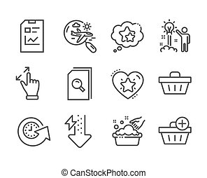 Set of Business icons, such as Report document, Energy drops...