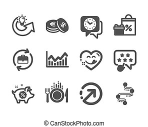 Set of Business icons, such as Savings, Food, Timeline. Vector