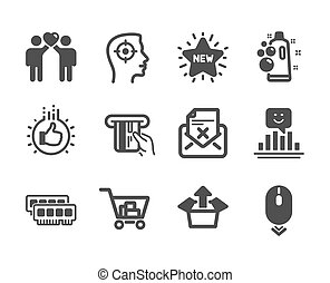 Set of Business icons, such as Scroll down, Friends couple, Like hand. Vector