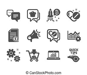 Set of Business icons, such as Shopping, Megaphone, Medical drugs. Vector