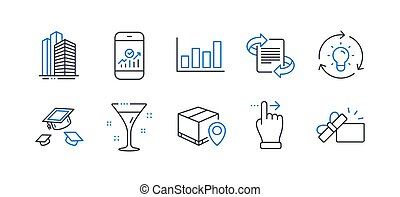 Set of Business icons, such as Smartphone statistics, Touchscreen gesture, Marketing. Vector