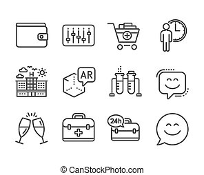 Set of Business icons, such as Smile face, Add products, ...
