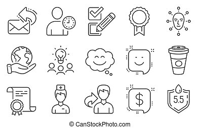 Set of Business icons, such as Smile, Face biometrics, ...
