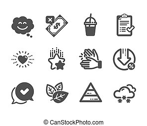 Set of Business icons, such as Snow weather, Ranking stars, Coffee cocktail. Vector