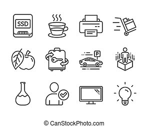 Set of Business icons, such as Ssd, Push cart, Apple. Vector