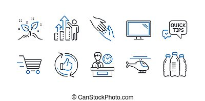 Set of Business icons, such as Startup concept, Helicopter, Monitor. Vector