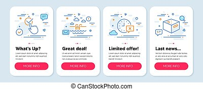 Set of Business icons, such as Swimming pool, Time, Checkbox symbols. Office box line icons. Vector