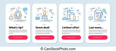 Set of Business icons, such as Tap water, Group, Success symbols. Approved agreement line icons. Vector