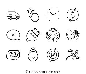 Set of Business icons, such as Touchpoint, Startup rocket, Money currency. Vector