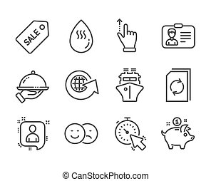 Set of Business icons, such as Touchscreen gesture, Restaurant food, Update document. Vector