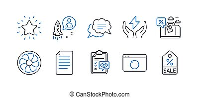 Set of Business icons, such as Travel loan, Recovery internet, Startup. Vector