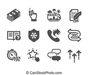 Set of Business icons, such as Usd currency, Quick tips, Swipe up. Vector