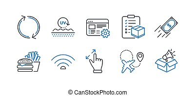 Set of Business icons, such as Wifi, Refresh, Touchscreen gesture. Vector