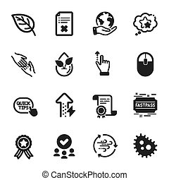 Set of Business icons, such as Wind energy, Computer mouse, ...