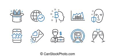 Set of Business icons, such as World statistics, Love letter, Star. Vector