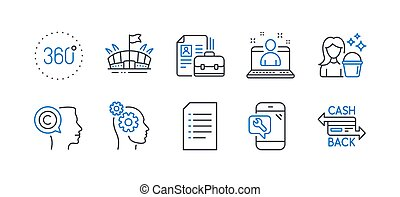 Set of Business icons, such as Writer, Thoughts, Document. Vector