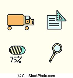 Set of business icons: truck, magnifying glass, paper, and percent. Vector illustration.