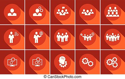Set of business icons with long shadow. Data, time  or people management.