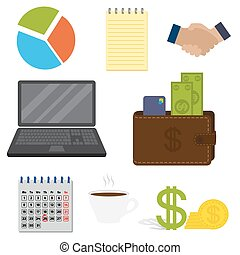 Set of business important items, isolated on a white background.