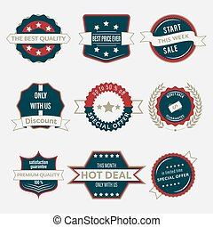 Set of business labels and ribbons in vintage style. Vector branding in retro design.