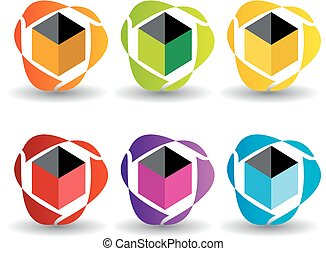 Set of business logos