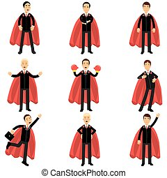 Set of business man character in classic black suits with red superhero capes. Successful office workers in different poses. Career and leadership. Flat vector design