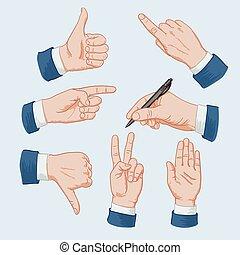 Set of business man hands