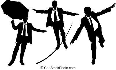 business men - set of business men on rope
