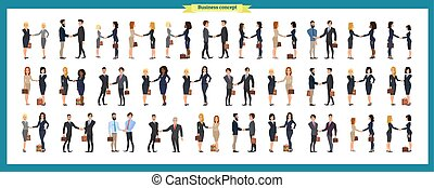 Set of business people and situations. Presentation, agreement, a handshake, work,standing,arms crossed. Vector illustration in a flat style.Businessmen, business women handshake.teamwork.