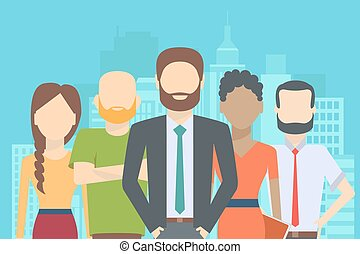 Set of business people, collection of diverse characters in...