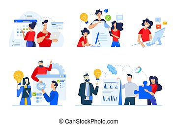 Set of business people concepts.