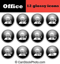 Set of business people glossy icons