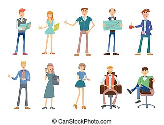 Set of business people in a casual wear. Company staff, vector illustration on white.