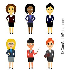 Set of business people in flat style isolated on white background. Women