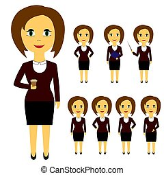 Set of business people in flat style isolated on white background. Women with brown hair in different poses in formal attire