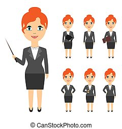 Set of business people in flat style isolated on white background.