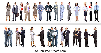 Set of business people isolated on white
