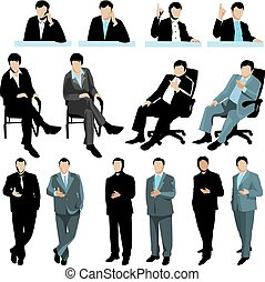 Set of business people silhouettes, isolated on white background. 2 variants of colors.