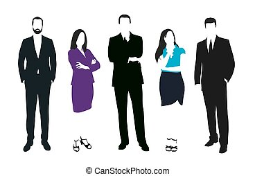 Set of business people vector silhouettes. Men and women at work. Teacher, lawyer, manager, salesman, dealer, merchant, model, secretary, disciple, office workers. Formal dress