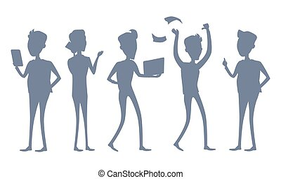 Set of Business People Vector Silhouettes.