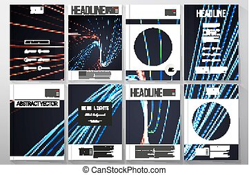 Set of business templates for brochure, flyer or booklet. Abstract lines background, motion design vector illustration