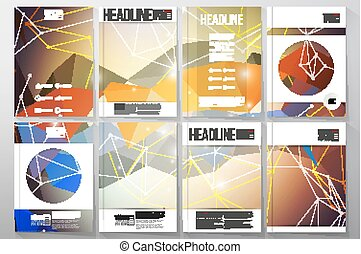 Set of business templates for brochure, flyer or booklet. Abstract multicolored background. Scientific digital design, science vector illustration