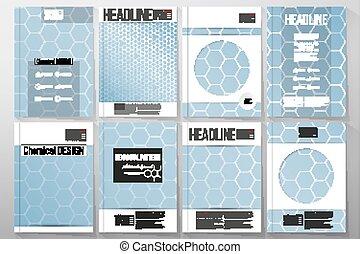 Set of business templates for brochure, flyer or booklet. Chemistry pattern, hexagonal design vector illustration