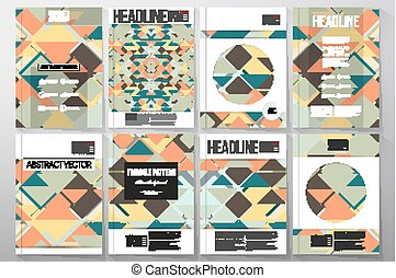 Set of business templates for brochure, flyer or booklet. Material Design. Colored vector background