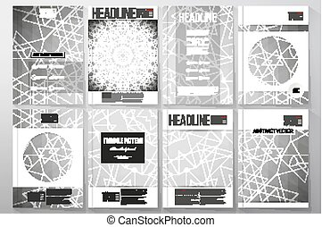 Set of business templates for brochure, flyer or booklet. Sacred geometry, triangle design gray background. Abstract vector illustration