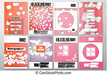 Set of business templates for brochure, flyer or booklet. White paper hearts, red vector background, Valentines day decoration