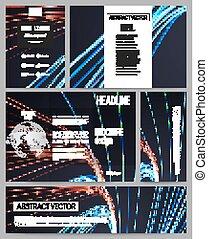 Set of business templates for presentation, brochure, flyer or booklet. Abstract lines background, motion design vector illustration
