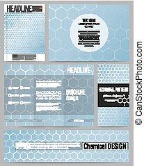 Set of business templates for presentation, brochure, flyer or booklet. Chemistry pattern, hexagonal design vector illustration